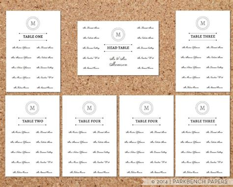 seating chart template classic monogram design diy