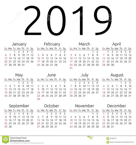 Calendario 2019 Portugues Calend 225 2019 Do Vetor Domingo Ilustra 231 227 O Do Vetor