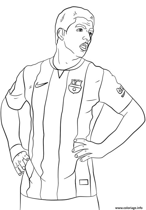 Coloriage luis suarez foot football - JeColorie.com