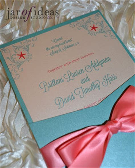 jar of ideas coral turquoise themed wedding pocket invitations