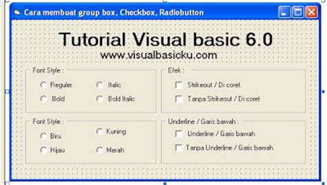 cara membuat power point dengan visual basic cara membuat group box checkbox radiobutton dengan