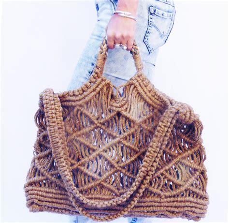 Macrame Shopping Bag - bag handbag tote shoulder purse large macrame new