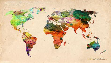 watercolor world map digital art  mark ashkenazi
