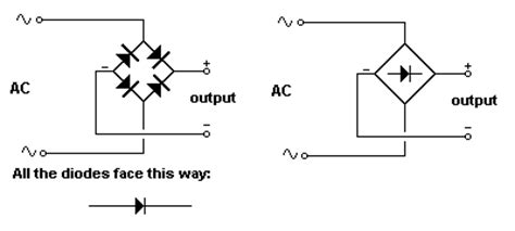 diode bridge rectifier symbol the following diagrams are to read and three are incorrectly