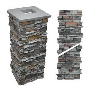 Post amp stone column wraps gt alpi stone porch pillar gray 36 quot