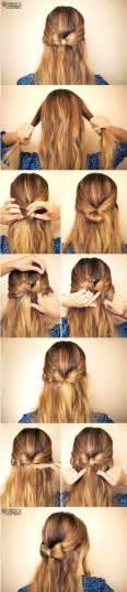 Cute hair bow hairstyle tutorial via