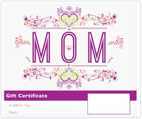 free printable gift certificates for mother s day printable gift certificate template mother s day