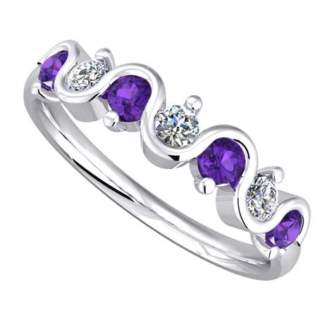 9ct white gold amethyst wave eternity ring 9051 9w