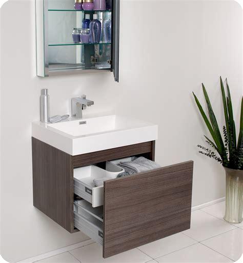 Fresca Nano Gray Oak Modern Bathroom Vanity w/ Medicine