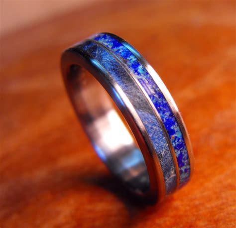 titanium wedding ring blue wood and wood ring