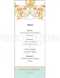 wedding menus buffet wedding buffet menu template orange chandelier menu