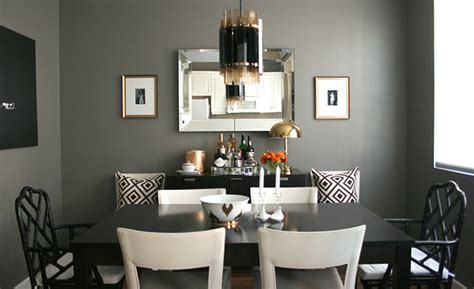 Ballard Designs Bookcase chic dining room design with gorgeous dark gray walls