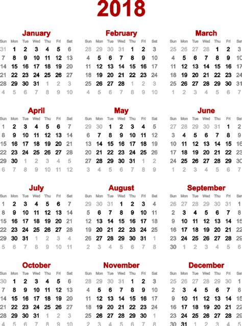 2018 Annual Calendar Lunar Calendar 2018 Yearly Calendar Template