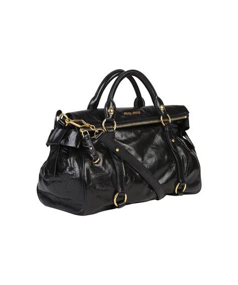 Miu Miu Vitello Large Tote by Lyst Miu Miu Large Black Vitello Bow Bag In Black