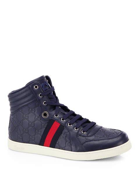 gucci high top sneakers for gucci ssima high top sneakers in blue for lyst