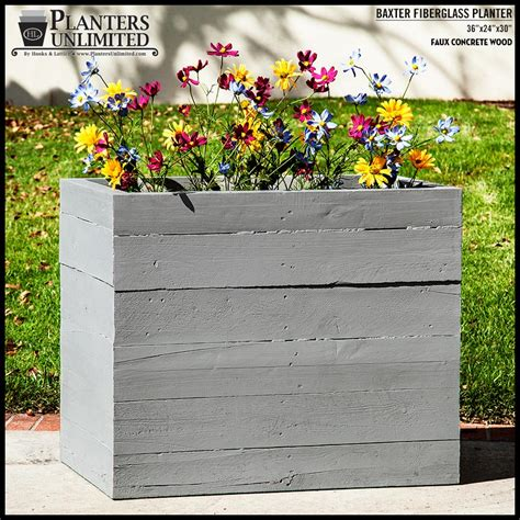 faux concrete planters baxter fiberglass rectangular planter faux board formed