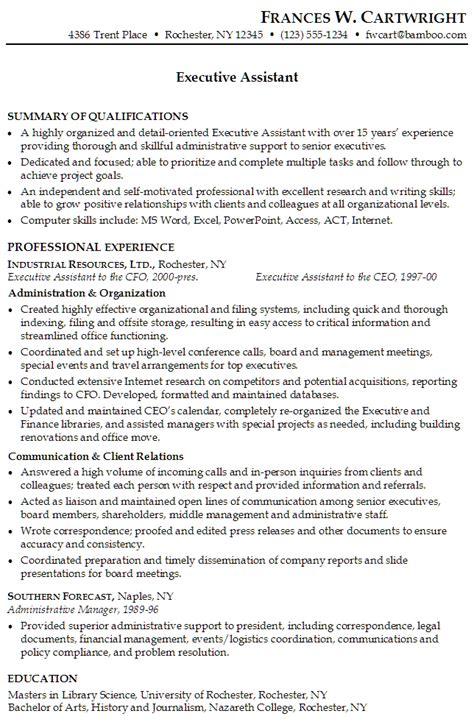 executive assistant templates executive assistant resume template gfyork