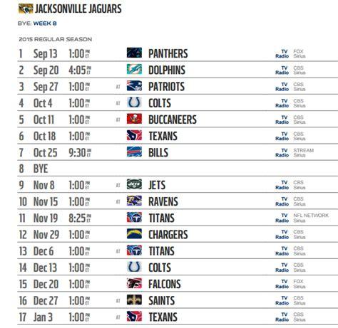 jacksonville jaguars scedule printable jacksonville jaguars schedule 2016 football
