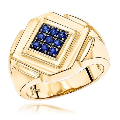 14k yellow or white gold sapphire mens ring by