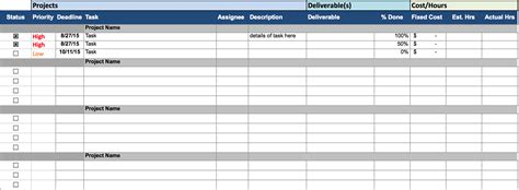 task tracking spreadsheet template spreadsheet templates