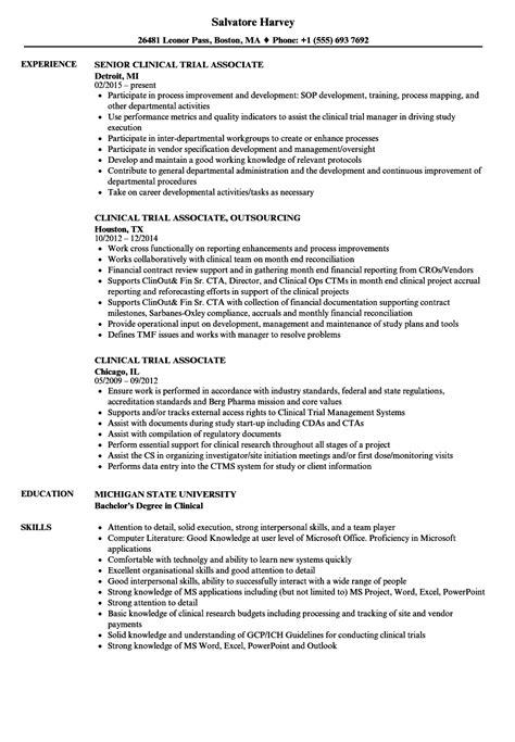 clinical trial associate resume sles velvet