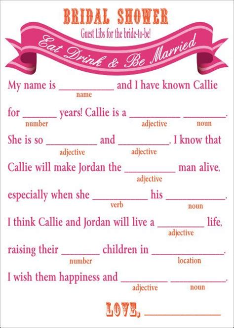 printable wedding shower mad libs bridal shower mad libs game diy printable by