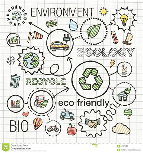 how to create energy in doodle ecology infographic draw icons stock vector image