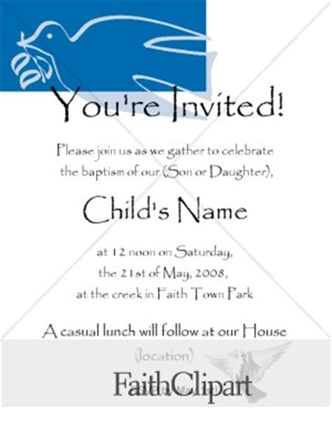 stylized dove baptism invitation dc hidden