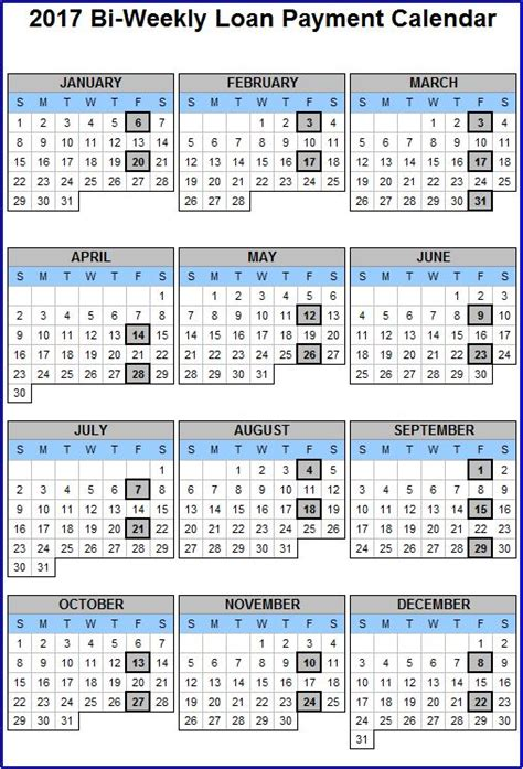 Bi Weekly Pay Calendar Template Business 2017 Biweekly Payroll Calendar Template Excel