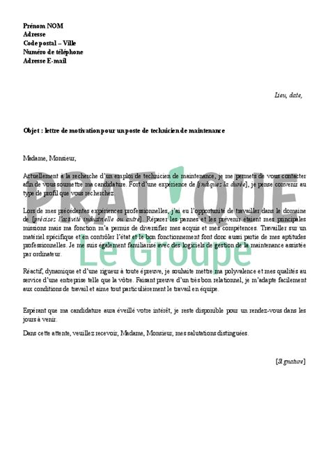 Lettre De Motivation Ecole Technicien Modele Lettre De Motivation Technicien De Maintenance Document