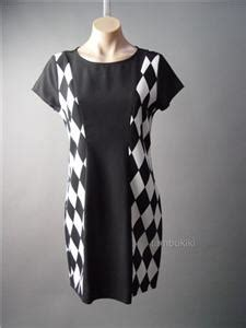 20973 Bold Retro Pattern S M L Sale Dress Black White Mod 60s Geometric Check Pattern Shift