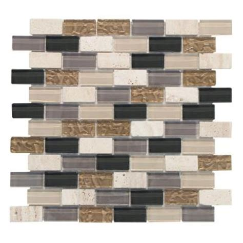 mosaic tile cedar cove 1x2 12 in x 12 in glass and