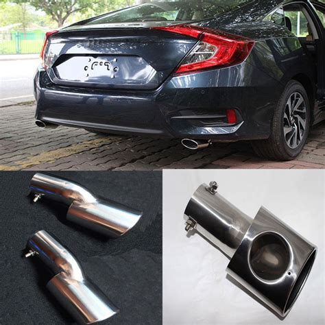 Muffler Ujung Knalpot Civic Turbo 2x stainless rear turbo end tip pipes exhaust muffler for honda civic 2016 2017 ebay