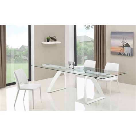 Modern White Glass Dining Table Modrest Harvey Modern Extendable Glass Dining Table White And Clear Dcg Stores