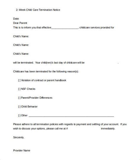 Closing Daycare Letter To Parents daycare termination letter templates 10 free sle