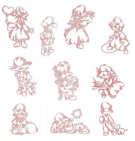 embroidery design redwork redwork sunbonnets machine embroidery designs by sew swell