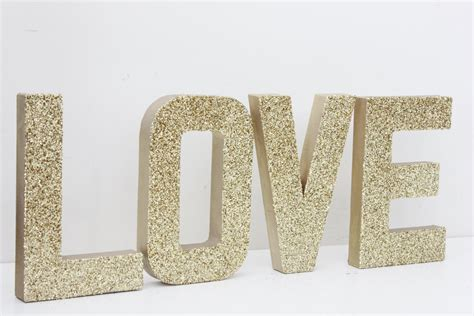 decorative letters love free standing glitter letters home love glitter gold sign letters free standing glittered wedding