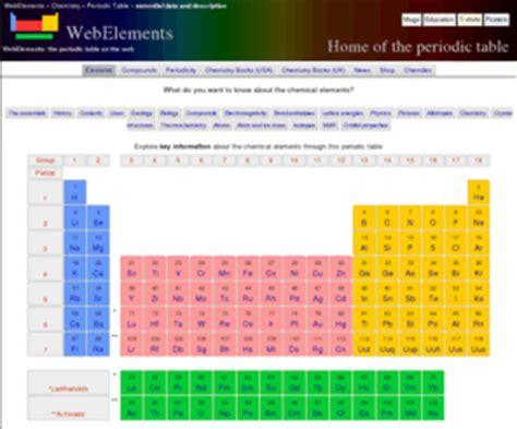 web elements periodic table webelements com webelements periodic table of the elements