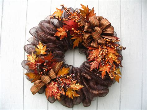 fall wreaths luxurious brown metallic deco mesh fall wreath door or wall