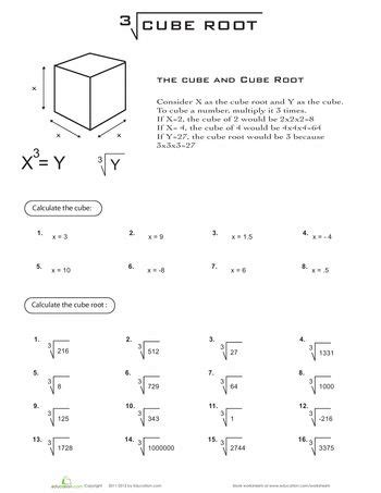 printable math worksheets square roots cube root equation high school maths and esl
