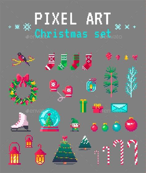 best pixel merry christmas pixel set by nusha777 graphicriver