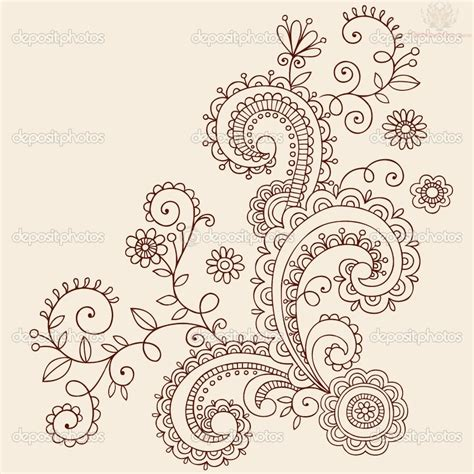 paisley design tattoo free coloring pages of henna flowers