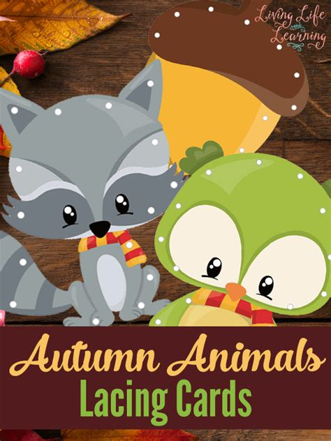 printable animal lacing cards free autumn animal lacing cards free homeschool deals