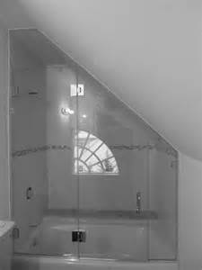 Slanted Shower Curtain Rod Frameless Glass Shower Enclosure With Angled Ceiling