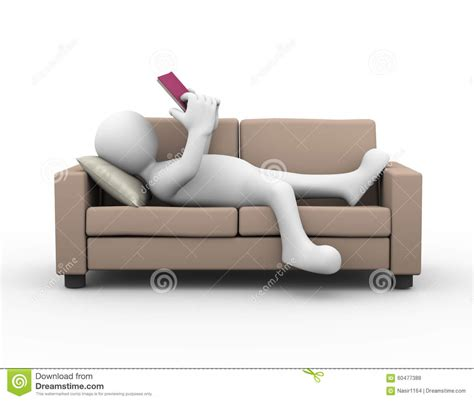 couch person 3d man relaxing and reading a book stock illustration