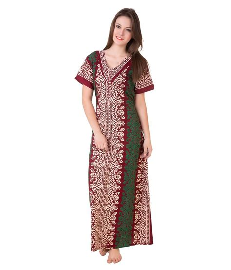 nighty dress with price buy masha maroon cotton nighty online at best prices in