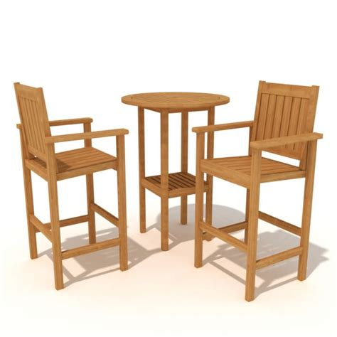 high wooden bar stools and high top table 3d model