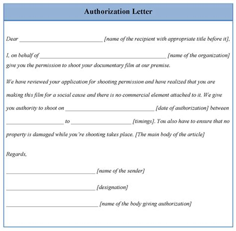 authorization letter format for letter of authorization sle format best template