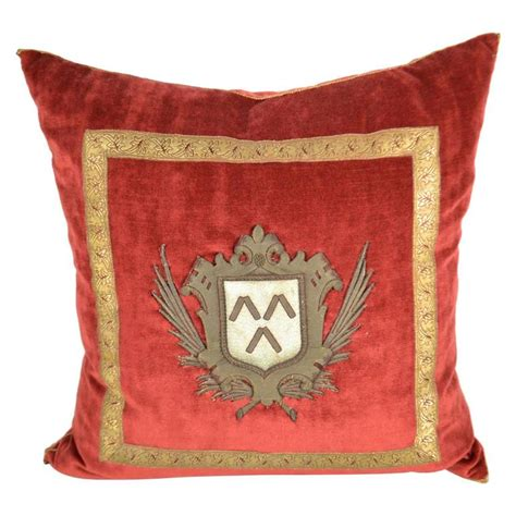 Decorative Trim For Pillows by Pillow With Decorative Fabric And Antique Trim And Crest