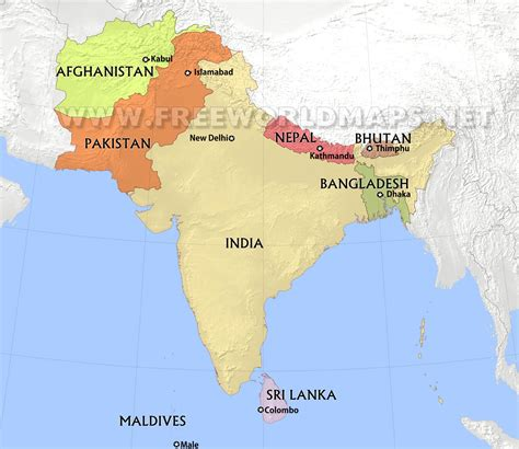 south asia countries map south asia by freeworldmaps net